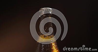 Garrafa da cerveja fria em um fundo preto Gerencie lentamente condensate video estoque