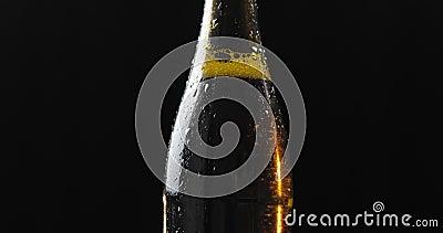 Garrafa da cerveja fria em um fundo preto Gerencie lentamente condensate filme