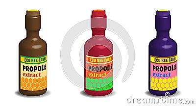 Garrafas do extrato do Propolis