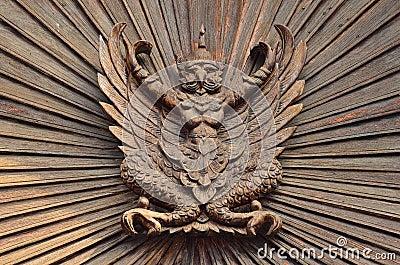 Garuda on the wooden wall