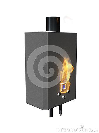 Gas boiler with flame