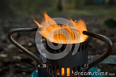 A gas burner.