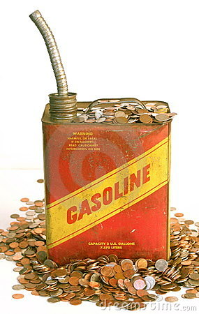 Gas can and piles of money