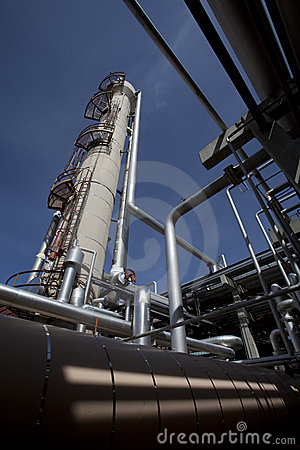 Free Gas Compressor Plant Tower And Piping Stock Image - 13710771