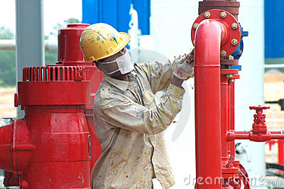 Gas facility worker