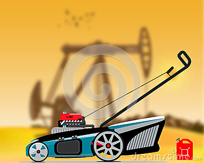 Gas grass mower Vector Illustration