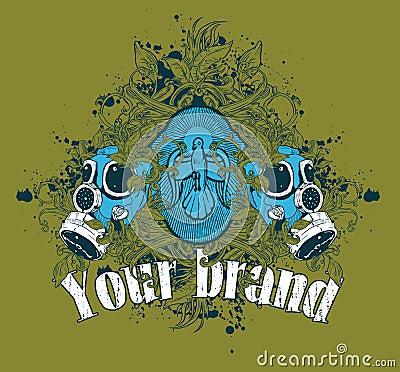 Gas Mask Grunge Illustration