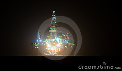 Gas Oil platform at night