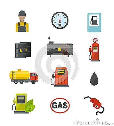 Gas oil station vector set. Vector Illustration