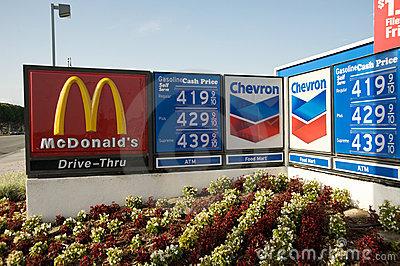 Gas prices Chevron McDonald s Editorial Photography