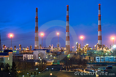 Gas-processing a factory in the evening