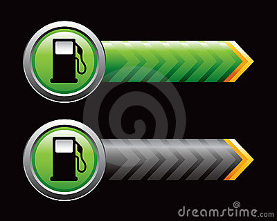 Gas pump in green and black arrows