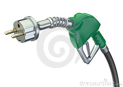 Gas pump nozzle with electric plug