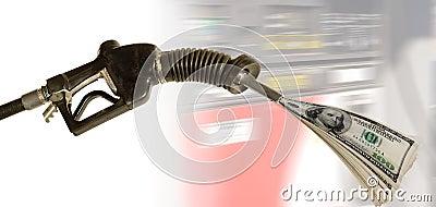 Gas pump pumping cash