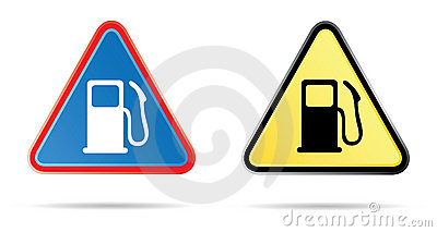 Gas pump triangular road sign