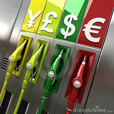 Gas pumps with currency symbols