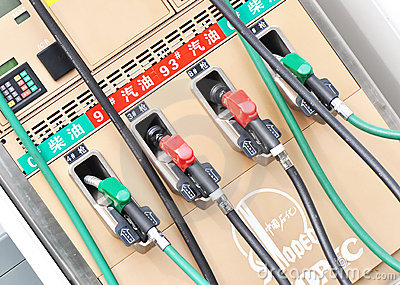 Gas pumps at filling machine Editorial Stock Image