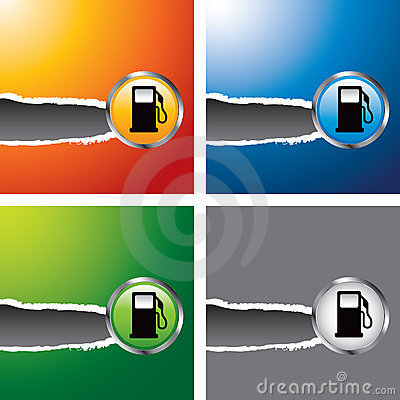 Gas pumps on multicolored ripped banners