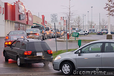 Gas  Queue in the Parking Lot Editorial Stock Image