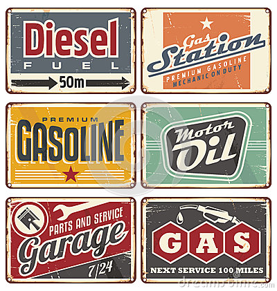 Gas stations and car service vintage tin signs Vector Illustration