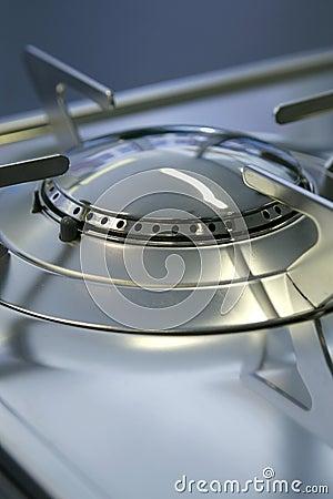Gas stove burner hob close-up