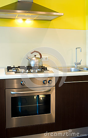 Gas stove and oven in kitchen