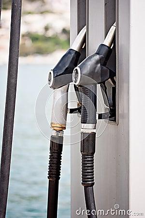 Gas supply pump station at sea
