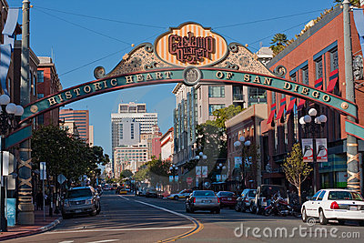 Gaslamp District sign in San Diego, California Editorial Image