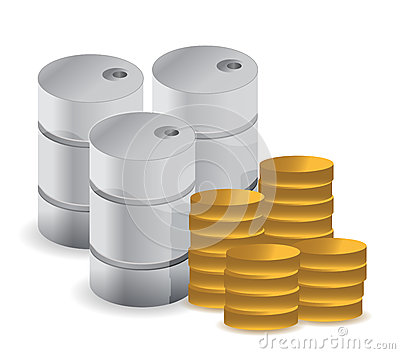 Gasoline fuel with coins over white background