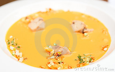 Gaspacho soup with cod liver