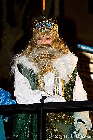 Gaspar King at the Biblical Magi parade Editorial Photography