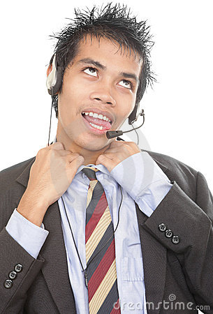 Gasping telemarketer loosening collar