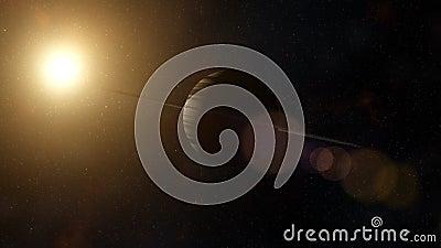 Gasriese mit Ringsystem von Eispartikeln Weltraum, kosmisch vektor abbildung