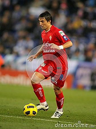 Gaston Sangoy of Sporting Gijon Editorial Stock Photo
