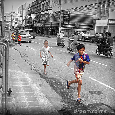 Gatalivstid Bangkok Thailand Redaktionell Foto