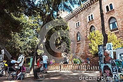 Gatamålare i Mallorca Redaktionell Arkivbild