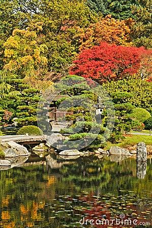 Gate, Bridge, and Pond in Japanese Garden
