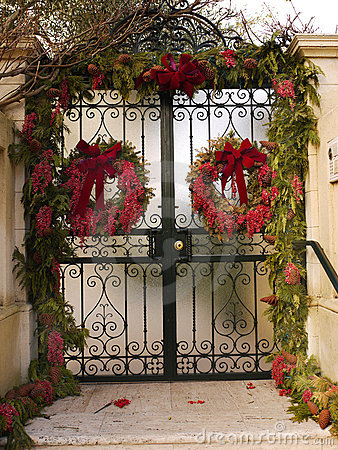 Gate with Christmas decorations