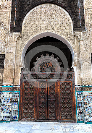 Gate at the courtyard of bou inania madrasa Stock Photo