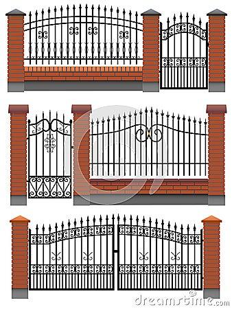 Gate, fences with bricks and metal lattice.
