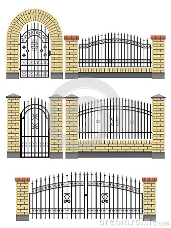 Gate, fences with bricks and metal lattice.