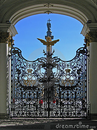 Gate in Hermitage museum, St Petersburg