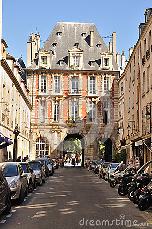 Gate of Place des Vosges - Paris Editorial Stock Photo