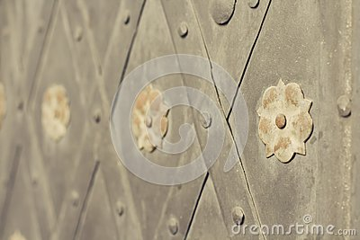 Gate with rivets and ancient style steel flowers