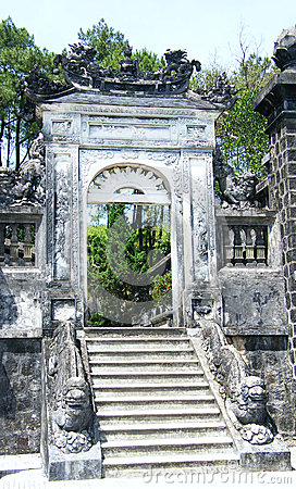 Gate and steps at tomb khai dinh, Hue Vietnam