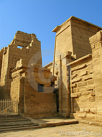 Gate of the temple of Medinet Habu. Luxor, Egypt