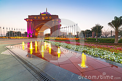 Gate to the Emirates Palace in Abu Dhabi Editorial Photo