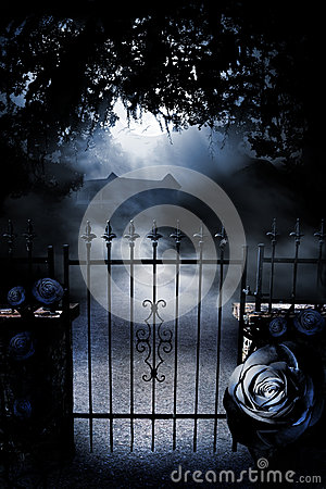 Gate to moonlit mansion