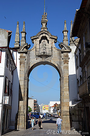 Gate to old town of Braga Editorial Stock Photo