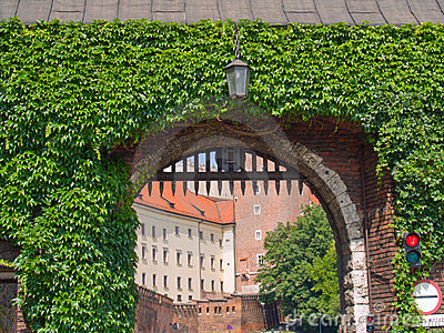 Gate to  royal castle, Krakow, Poland